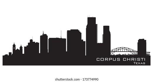 Corpus Christi Texas skyline Detailed vector silhouette