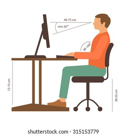 correct back sitting position, vector illustration, posture