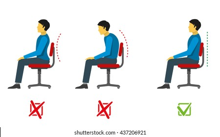 Correct and bad sitting position. Medical infographics with spine person sit correct, wrong position. Vector illustration