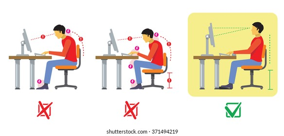 Correct and bad spine sitting posture. Diagram in flat style. Vector illustration