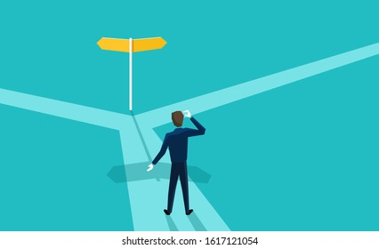 Correct decision chosing - confused man character standing on the crossroads and looking at signpost with two different directions - conceptual vector illustration