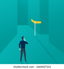 Correct decision chosing - confused man character standing in labyrinth maze and looking at signpost with two different directions - conceptual vector illustration