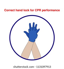 Correct hand lock for CPR First AID performance vector illustration