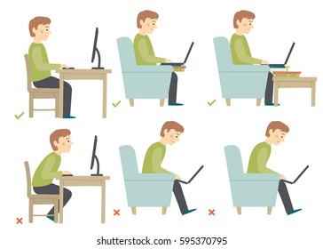 Correct and Incorrect Activities Posture in Daily Routine - Sitting and Working with a Computer. Man haracter.