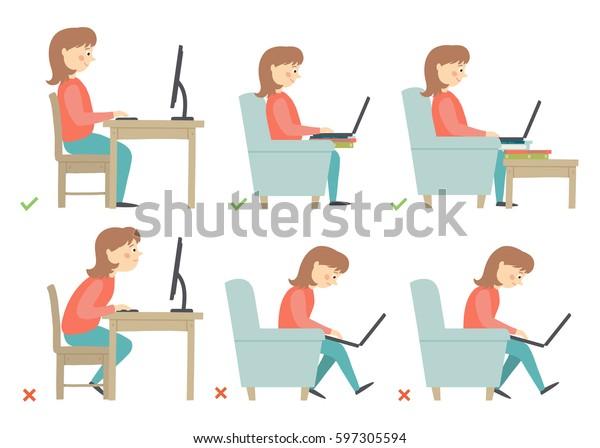 Postura de actividades correcta e incorrecta en rutina diaria - Sentarse y trabajar con un equipo. Dibujo vectorial de caricatura 10 ilustraciones aisladas en fondo blanco en estilo plano.