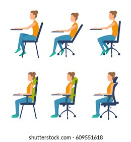 Correct, incorrect position sitting at table. Ergonomic orthopaedic pillow under lower back and neck. Right posture for a healthy back. Support back and head.Vector illustration set isolated on white.