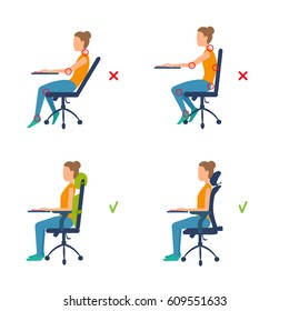 Correct, incorrect position sitting at table. Marks of pain in joints, muscles. Ergonomic orthopaedic pillow under lower back and neck. Right posture for a healthy back. Vector illustration isolated.