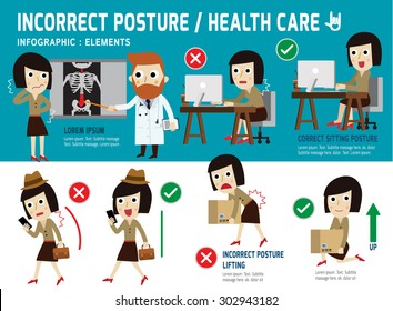 correct and incorrect posture. infographic element.