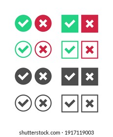 Correct Incorrect Sign. Right and Wrong Mark Icon Set. True or False Checkbox. Verivy Vector Template.