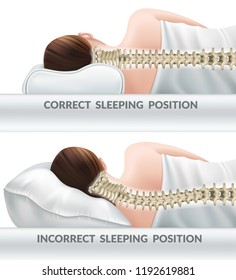 Correct and incorrect sleeping poses. Right and wrong position cervical vertebrae on different pillows. Caring for health of neck. 3d realistic vector illustration.