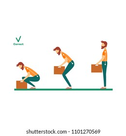 Correct neck, spine alignment of young cartoon man character lifting weight. Head bending positions, inclination of neck. Spine care concept. Vector isolated illustration