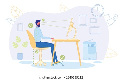 Correct Position to Sit at Table Flat Cartoon Vector Illustration. Ergonomic Concept, Right Posture for Healthy Back. Distance between Screen and Eyes, Good Chair Height, Footrest.