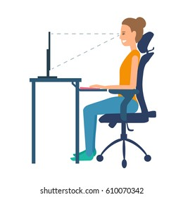 Correct position sitting at table. Ergonomic orthopaedic chair with bending under neck and lumbar support under lower back. Right posture for a healthy back. Support back and head.Vector illustration.