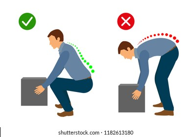 Correct posture to lift a heavy object, Man lifting object