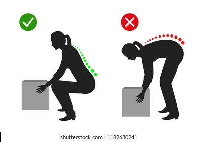 Correct posture to lift a heavy object, Women lifting object silhouette