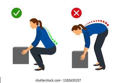 Correct posture to lift a heavy object, Women lifting object