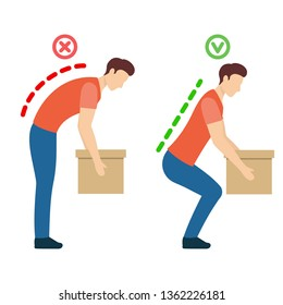 The correct, safely lift objects, position posture. Lumbar spinal curvature. Good posture. Healthy back. Isolated vector illustration