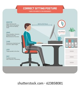 Correct sitting at desk posture ergonomics: office worker using a computer and improving his posture