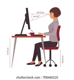 correct sitting position, office desk posture, vector illustration