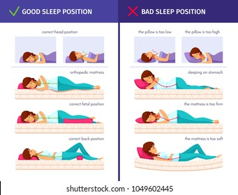 Correct sleeping cartoon compositions set with flat human characters of sleeping woman and proper sleep positions vector illustration