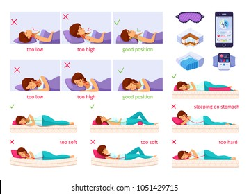 Correct sleeping cartoon set of flat isolated images with female human characters and isometric orthopedic inserts vector illustration