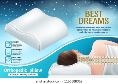 Correct sleeping position. Orthopedic pillow with memory effect. Realistic vector illustration.