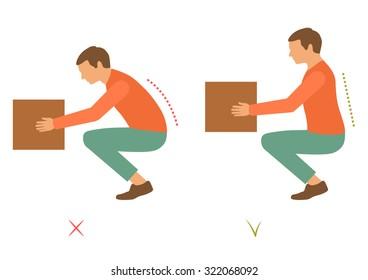 correct spine posture, bad lifting position, back pain,  vector illustration