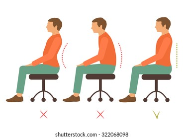 correct spine posture, bad sitting position, back pain, vector illustration