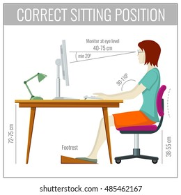 Correct spine sitting posture at computer health prevention vector concept. Position for health back illustration