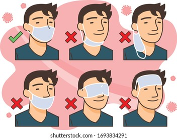 correct way to wear the mask for corona virus protection (with outlines)
