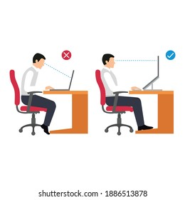 correct working position people flat vector illustration isolated on white background. Sitting posture set. Right and wrong positions. Healthy lifestyle.