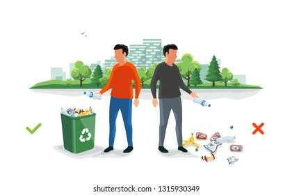 Correct and wrong littering waste. Person disposed improperly throwing away garbage on the ground. Trash rubbish is fallen on the street ground. Isolated cartoon illustration on white background.