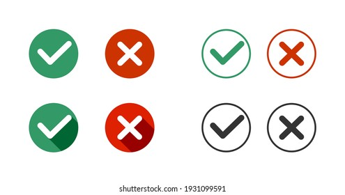 Correct Wrong - Yes No - Approved Rejected Icons Vector Set
