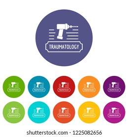 Correction traumatology icons color set vector for any web design on white background