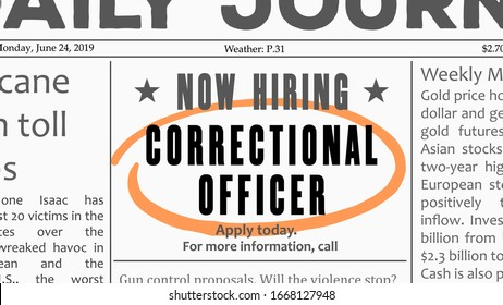 Correctional officer career - job offer. Newspaper classified ad career opportunity.