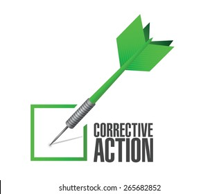 corrective action check dart sign illustration design over white background