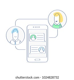Correspondence, chatting on smartphone screen, online chat, male and female faces near mobile phone vector illustration. Mobile connection, communication, connection, speak, messaging icon vector.