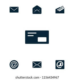 Correspondence icon. collection of 7 correspondence filled icons such as mail, at email, letter, envelop. editable correspondence icons for web and mobile.