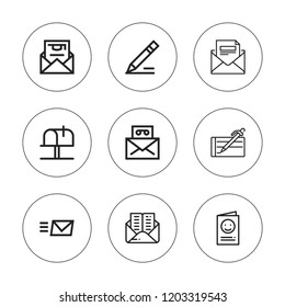 Correspondence icon set. collection of 9 outline correspondence icons with email, invitation, mail, mailbox, write icons. editable icons.