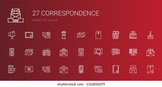 correspondence icons set. Collection of correspondence with envelope, mailing, news, email, mail, love letter, post office, letterbox. Editable and scalable correspondence icons.