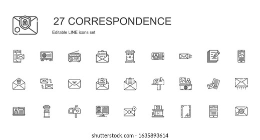 correspondence icons set. Collection of correspondence with envelope, post office, email, news, mailbox, letterbox, mail, mailing. Editable and scalable correspondence icons.
