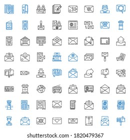 correspondence icons set. Collection of correspondence with mailbox, love letter, envelope, email, postman, news, outbox, mail, post office. Editable and scalable correspondence icons.