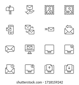 Correspondence line icons set, outline vector symbol collection, linear style pictogram pack. Signs, logo illustration. Set includes icons as email, envelope, news, mailbox, mailing, postcard, mail