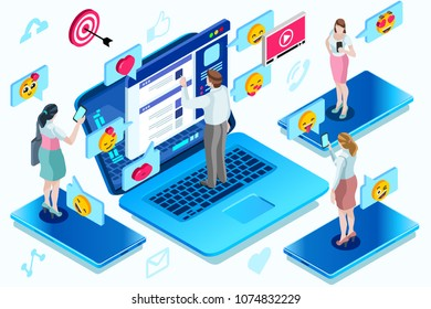 Correspondence and modern communication, isometric people, young male and female at computer. Modern bright isometric design.