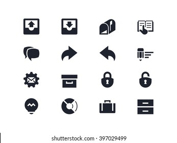 Correspondence and office icons. Lyra series