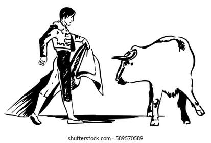 Corrida, bullfighting in Spain. Matador, bullfighter, bull fight. Hand drawn sketch. Vector illustration.