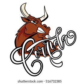 Corrida de toros.Vector illustration aggressive fighting bull.Wild buffalo bull in cartoon style for mascot and emblems, postcards, logotypes, badges, stickers, stamps, icons, frames, card design set.