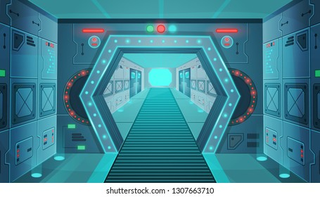 Corridor with a door in a spaceship.Vector cartoon background interior room sci-fi spaceship. Background for games and mobile applications.