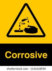 Corrosive substance sign vector design. Dangerous corrosive substance symbol sign.