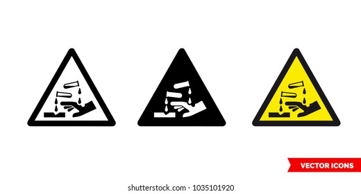 Corrosive symbol warning icon of 3 types: color, black and white, outline. Isolated vector sign symbol.